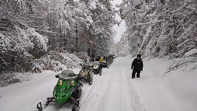 Snowmobile trail near Trego, Wisconsin
