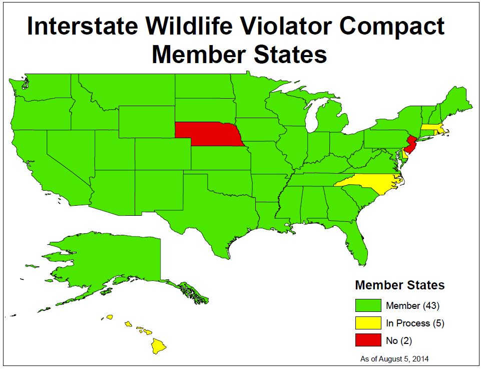 map of Wildlife Compact Member States