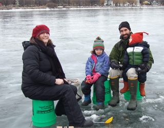 anglers enjoying a day of ice fishing