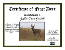 First Hunt Certificate - Photo credit: DNR