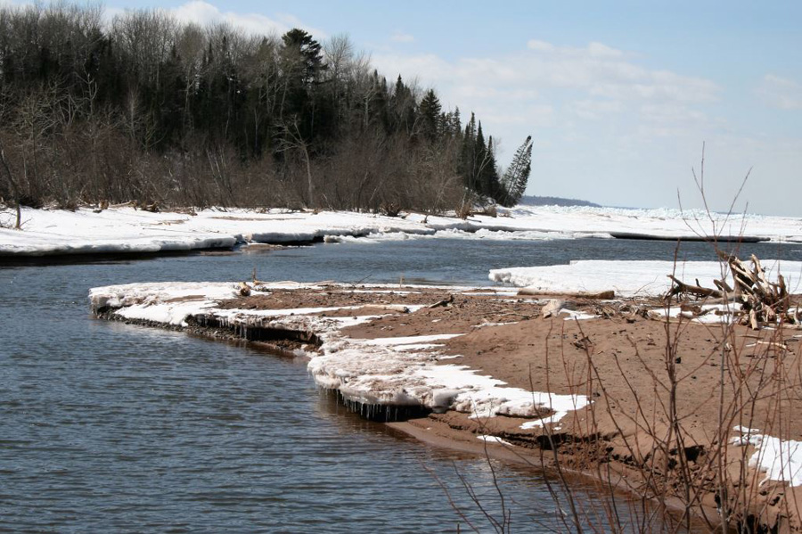The mouth of the Brule River at Lake Superior. - Photo credit: DNR