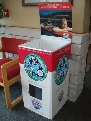 Fishing line recycling boxes are now available at nine DNR offices.