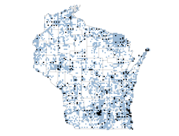 This map shows in white those areas of Wisconsin where volunteers are needed to survey birds.
