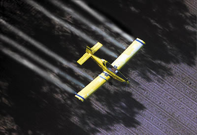 Arial spraying for gypsy moth caterpillars.