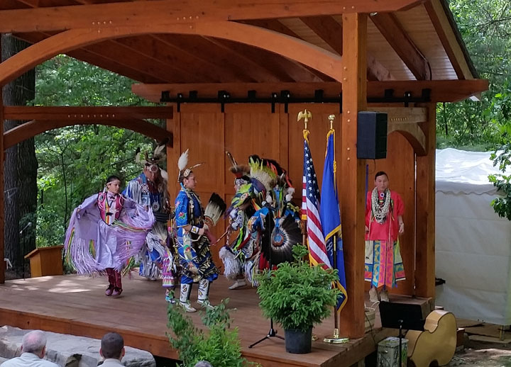 Ho Chunk dancers will perform at the 50th anniversary celebration at Mirror Lake State Park on Saturday, August 13.  Here dancers performed at the dedication of the park's new amphitheater, which the Ho Chunk Nation contributed to constructing.