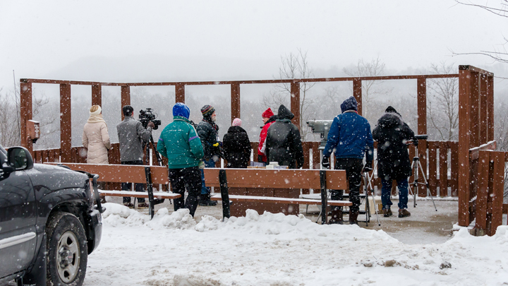 People gather on the Wisconsin River overlook to view eagles at a previous Sauk Prairie Eagle Watching Days.