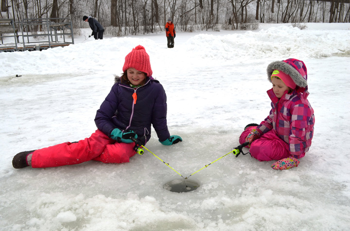 Children can learn to ice fish at free fishing clinics that will be held at Milwaukee and Waukesha county parks.