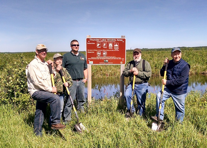Members of the Nicolet Bird Club of Three Lakes and Department of Natural Resources staff are working together to enhance Thunder Lake Wildlife Area in Oneida County.