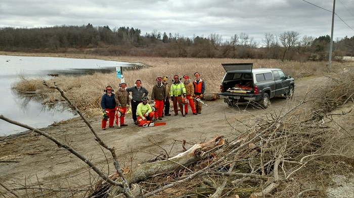WWA volunteers, including TJ Schnulle, Todd Berger, Brent Berger, Greg Tubbs, Tom Seibert, Don Guenther, Ron Churchill, Anne Churchill, and Kevin Banaszak received chainsaw training from a certified instructor to help with management efforts at Rome Pond Wildlife Area.