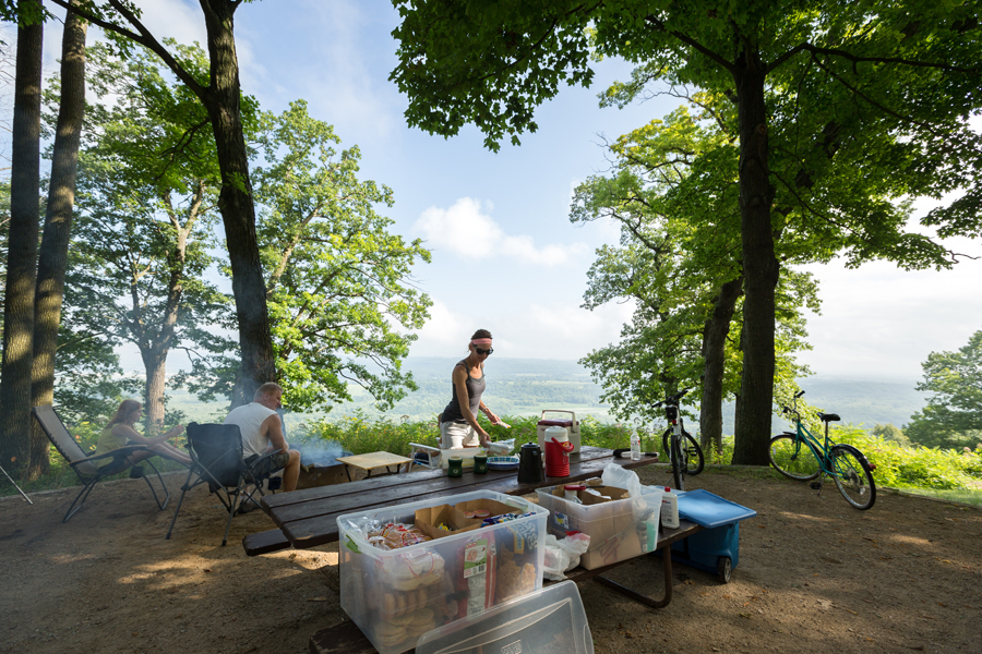 With views 500 feet above the confluence of the Mississippi and Wisconsin rivers, the Wisconsin Ridge Campground has some of the most sought-after campsites in Wisconsin.