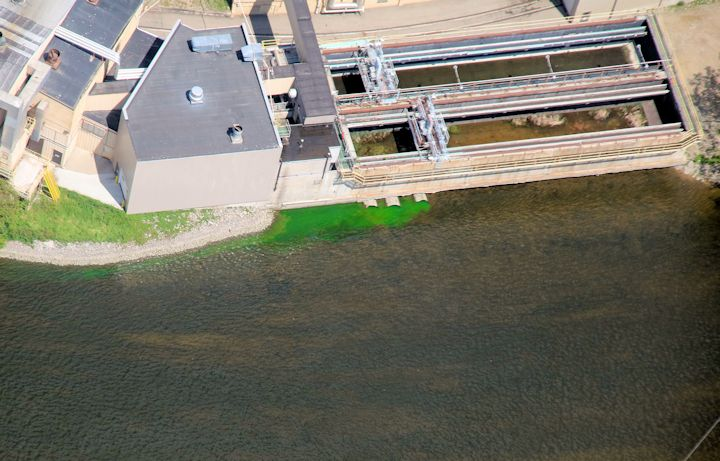 This aerial photo from a DNR spotter plane shows the non-toxic dye passing from the lock canal, which connects to Lake Winnebago, to the Fox River, which connects to Little Lake Butte des Morts.