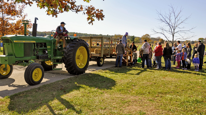 Hayrides are a popular feature at the MacKenzie Center Fall Festival.
