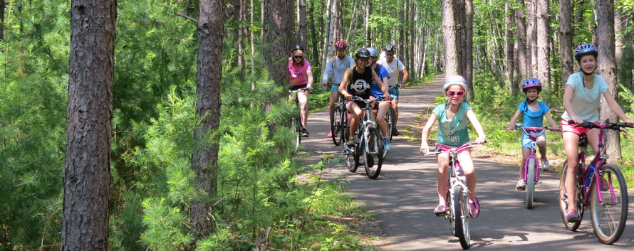 Paved bike trails have become a popular feature at the NHAL state forest.  The proposed plan authorizes the DNR to cooperate with local communities in developing 60 additional miles of bicycle touring