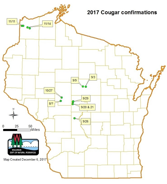 This map shows locations of confirmed video and photos of cougars in Wisconsin in 2017. - Photo credit: DNR