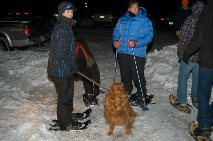 Some events allow pets on a leash, like the snowshoe hike at Rib Mountain, but others do not.  Pets are generally not allowed on groomed cross-country ski trails. - Photo Credit: DNR