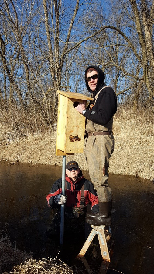 Al Klug and Jim Freck install a wood duck box. - Photo credit: DNR
