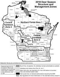2018 Deer Season Structure (click image for larger size PDF) - Photo credit: DNR