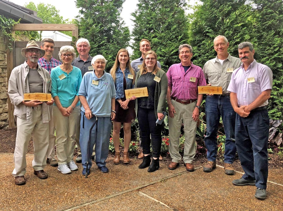 The 2018 Invader Crusader winners were honored in a June 6 ceremony highlighting their efforts to control invasive species. Left to right: Gary Nelson, Friends of Festge Park; Brad Herrick, UW-Arboretum Ecologist; Jeanette Hoard, and David Earles of the Friends of Festge Park; Ruth Marshall, Town of Nashota Weed Commissioner; Sara Fox, Brad Steckart and Jenna Bales, Waukesha/Washington Counties Aquatic Invasive Species Team - video contest winner; Ken Raffa, UW Entomology Department; Jim Reinartz, UW-Milwaukee Field Station Director; and Tim Gerber, UW-La Crosse Biology Department.  - Photo credit: DNR