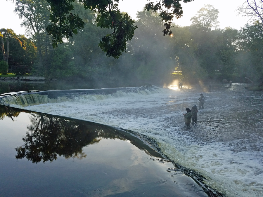 Anglers enjoying fishing the fall salmon run at Kletzsch Park Falls in Milwaukee earlier this month. - Photo credit: Reni Rydlewicz