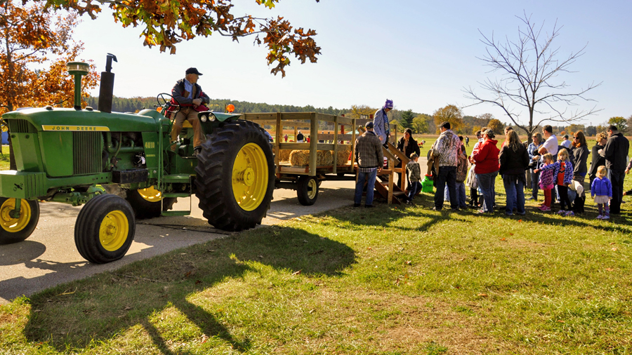 Hay rides are one of the popular activities during the MacKenzie Center's Fall Festival - Photo credit: DNR