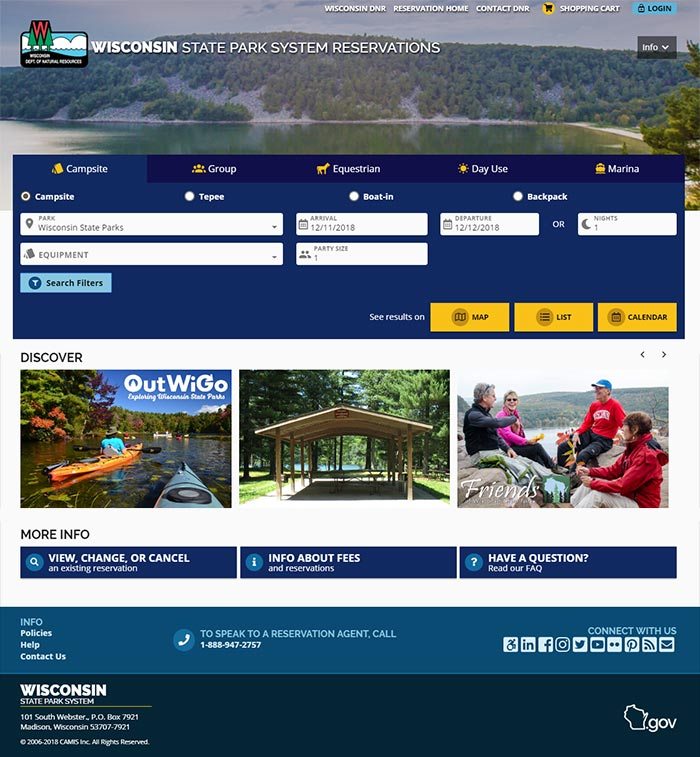 The new Wisconsin State Park System reservation website will go live on Dec. 14 to set up accounts and Dec. 17 to make reservations. - Photo credit: DNR