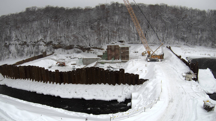 Construction of the Little Falls dam at Willow River State Park is on schedule and should be completed by this fall. - Photo credit: Little Falls Dam webcam