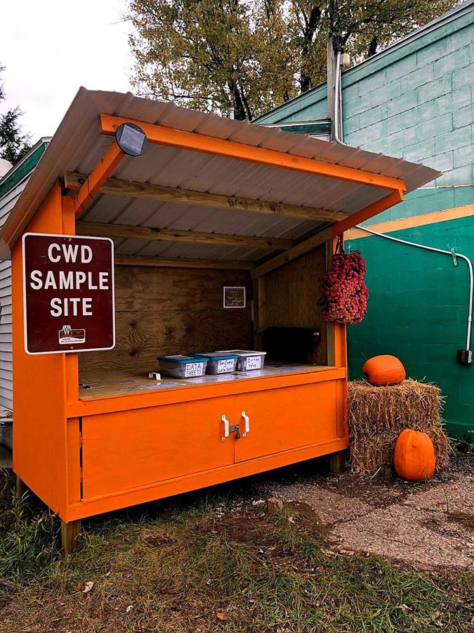 An adopt-a-kiosk CWD sampling station. - Photo credit: DNR