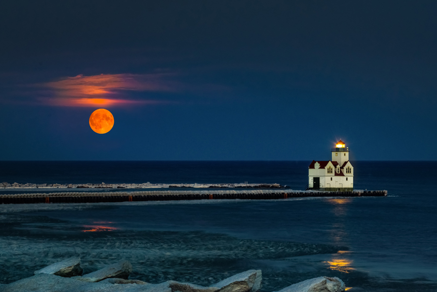 Super Moon over Kewaunee Harbor - Photo credit: Brent Hussin