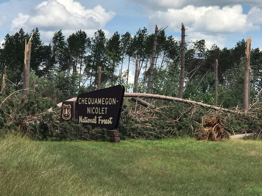 The Chequamegon-Nicolet National Forest has issued an emergency closure order for roads, trails, dispersed and developed recreation sites in the area of the storm. - Photo credit: Chequamegon-Nicolet National Forest