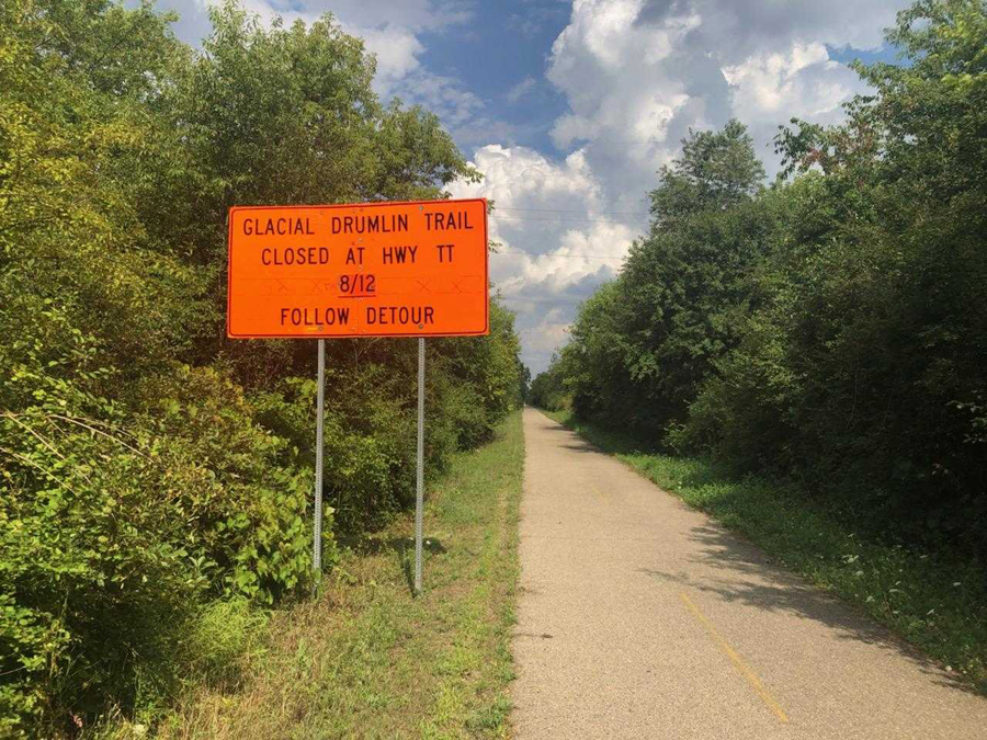 A section of the Glacial Drumlin State Trail in the Town of Waukesha will close Monday, August 12 for construction of an underpass. A detour has been posted and signs place along the trail to alert users of the closed section. - Photo credit: DNR