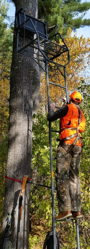 Research has shown most avid hunters face a 1-in-20 risk of getting hurt in a fall from a treestand. - Photo credit: DNR