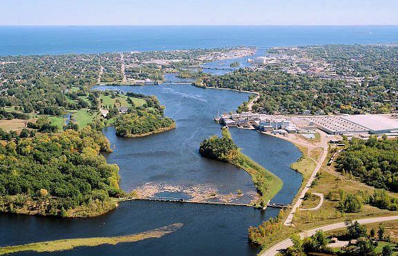 Aerial view of the Lower Menominee River flowing into Green Bay. - Photo credit: Brian Holbrook, Bird's Eye Aviation