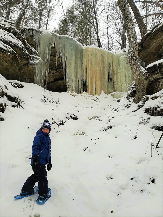 Winter is a great time to strap on snowshoes to explore State Natural Areas, like Fern Dell Gorge in Sauk County. - Photo credit: Ryder S. Will