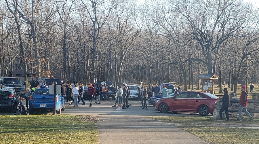 Parking lot at High Cliff State Park. Due to unprecedented crowds Gov. Evers directed the DNR to close several state properties. - Photo credit: DNR
