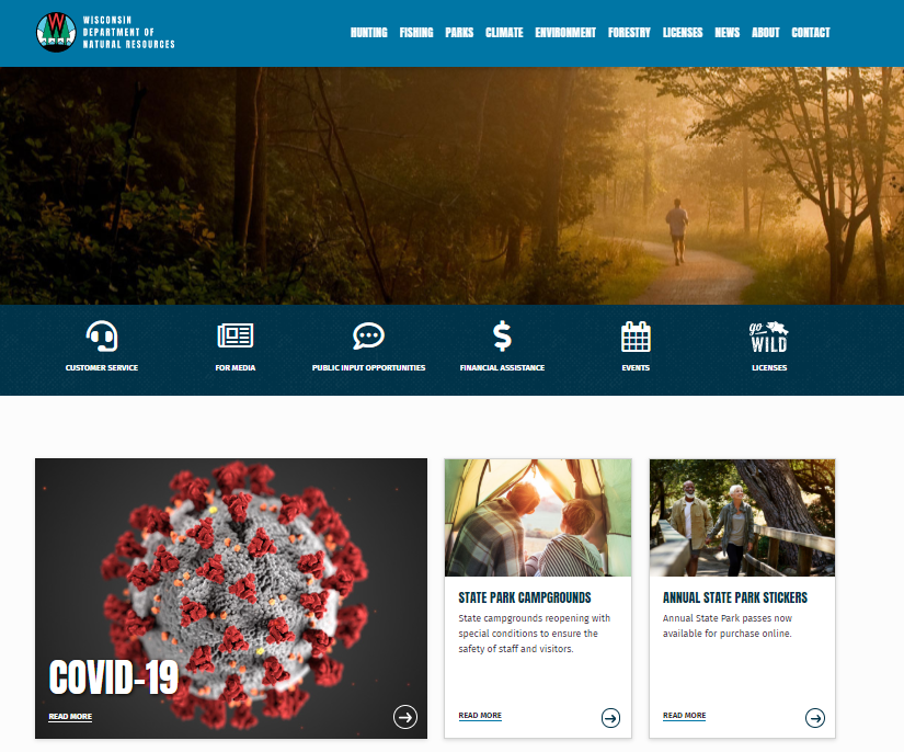 The DNR's new website focuses on ease of use for customers.  - Photo credit: Wisconsin DNR