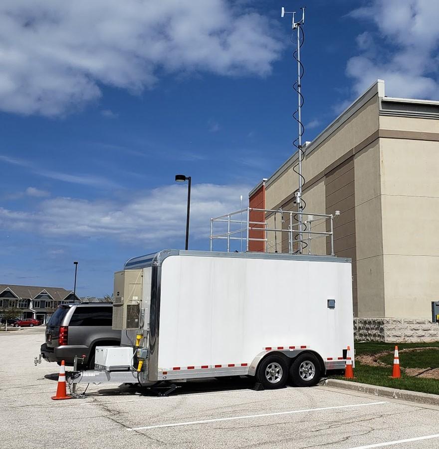 DNR's Mobile Air Monitoring Lab (MAML) stationed along the Lake Michigan shoreline in Sheboygan County