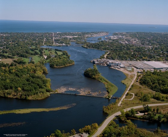 Pictured here is an aerial view of the Lower Menominee River flowing into Green Bay.  - Photo credit: Brian Holbrook, Bird's Eye Aviation.