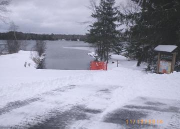 Snowed in boat landing.