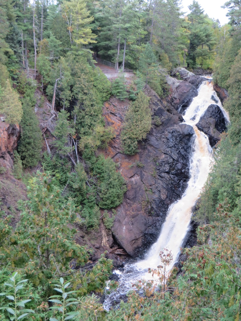 Recent rains have Big Manitou Falls at Pattison State Park flowing higher than normal for fall.