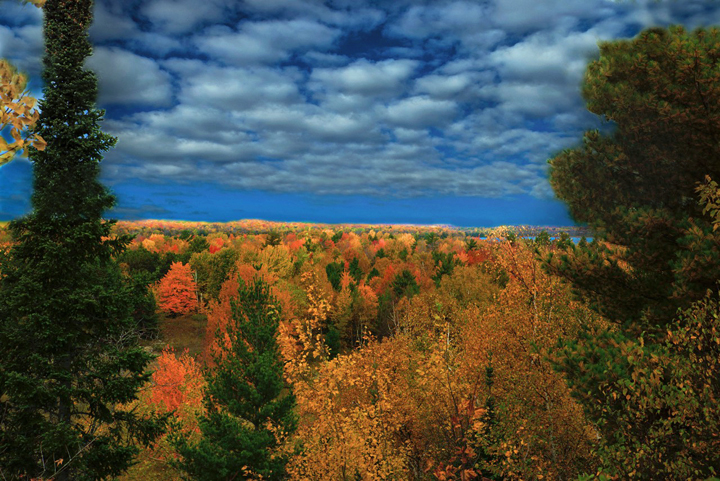 Colors were still peak this week at Whitefish Dunes State Park from the observation platform at