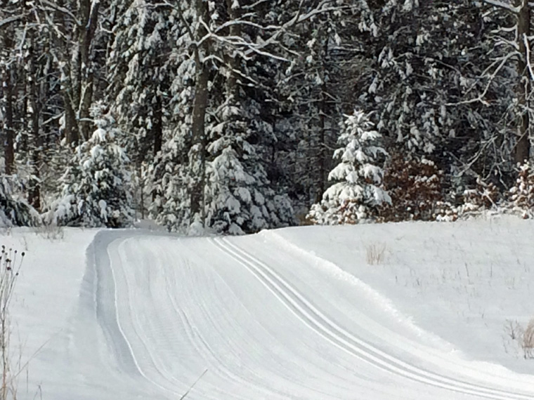 Cross-country ski trails are in good to excellent condition across the north, like these recently groomed trails at Governor Thompson State Park.