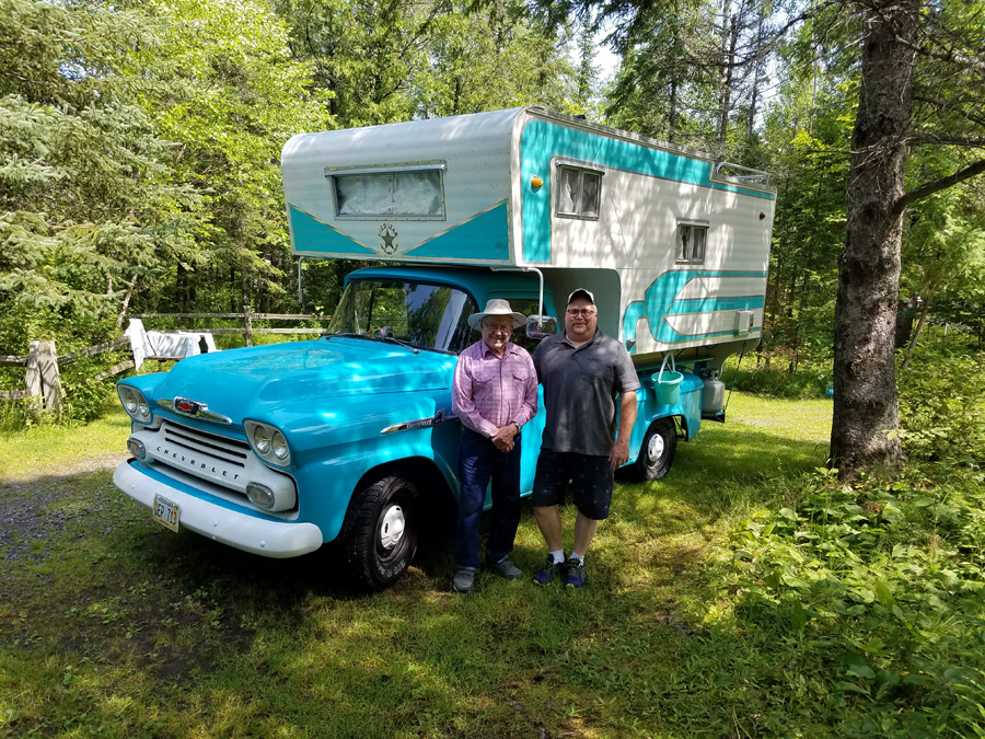 A family camping at Pattison this weekend from Omaha, Neb. brought a 1958 Chevrolet Pickup carrying a 1964 camper. The son stated he has camped in that camper his whole life and made countless memories.