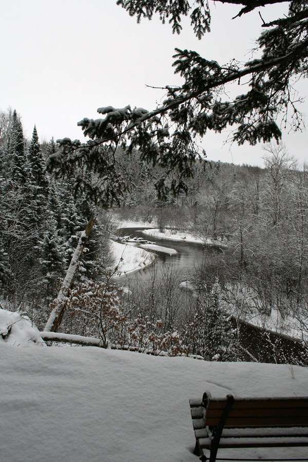 A snowy scene along the Brule River. - Photo credit: DNR