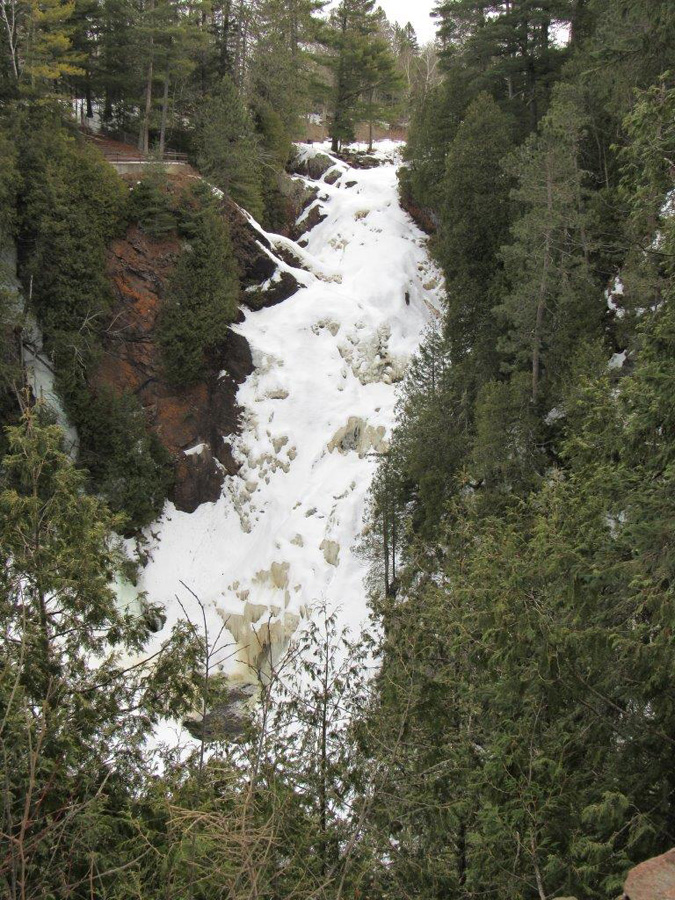 Big Manitou Falls was still ice covered as of March 20. - Photo credit: Gervase Thompson, DNR