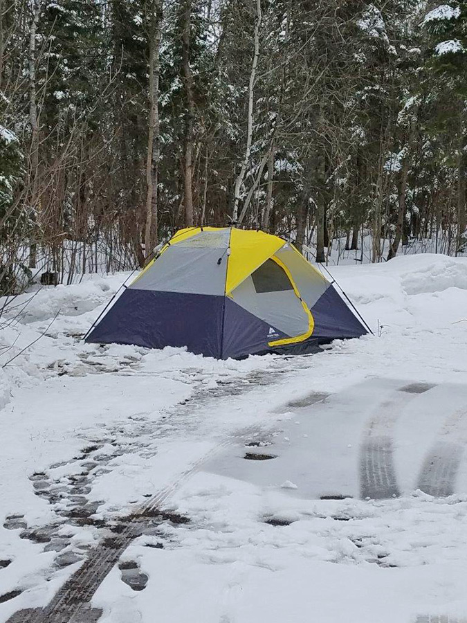 Winter camping at Pattison State Park. - Photo credit: DNR