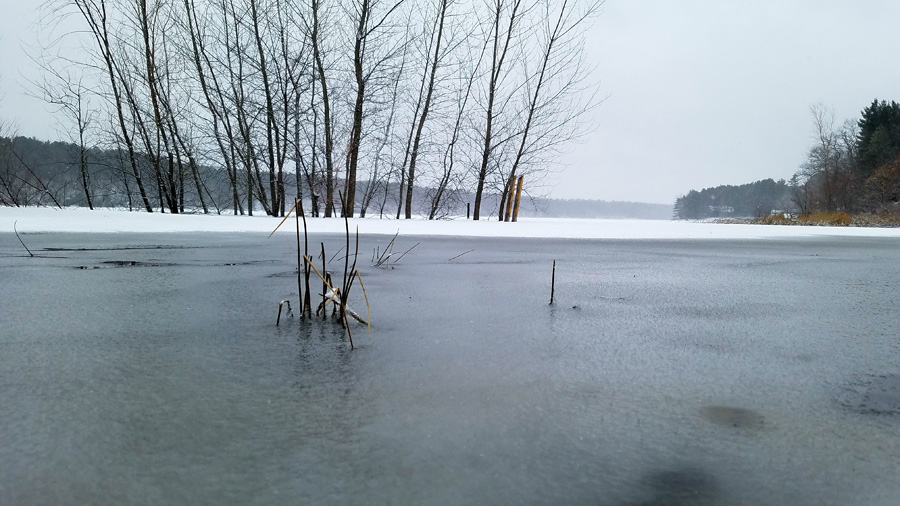 This was a snowy Fish Lake in Waushara County on March 31. - Photo credit: Ben Mott, DNR