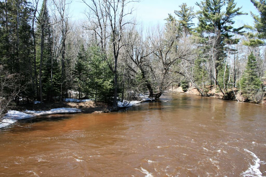 Many northern rivers are running high with the recent snow melt, including the Bois Brule. - Photo credit: DNR