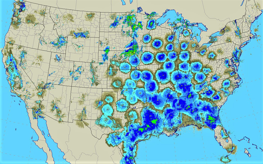 This radar image from around 1am Tuesday morning shows millions of birds nocturnally migrating across the eastern U.S. from Gulf Coast states northward toward Wisconsin. Image courtesy of the National Center for Atmospheric Research. - Photo credit: NOAA - Great Lakes Environmental Research Laboratory