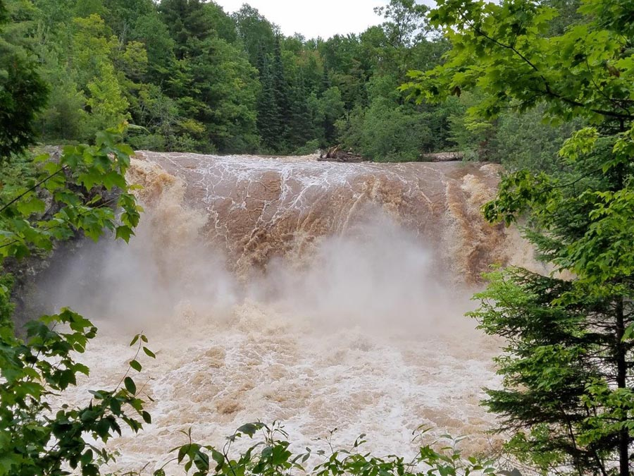 Water was roaring over Little Manitou Falls at Pattison State Park. - Photo credit: Gervase Thompson