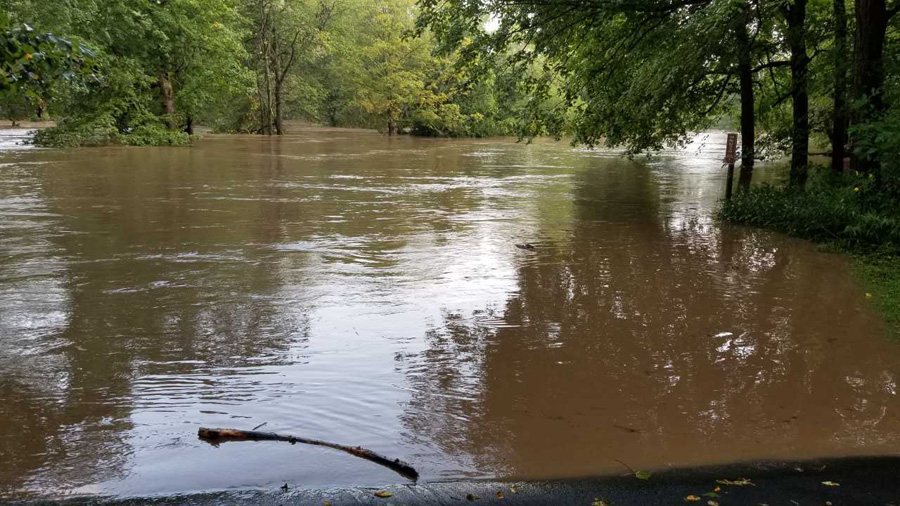 The flooding this week at Wildcat Mountain State Park. The park remains closed until further notic. - Photo credit: DNR